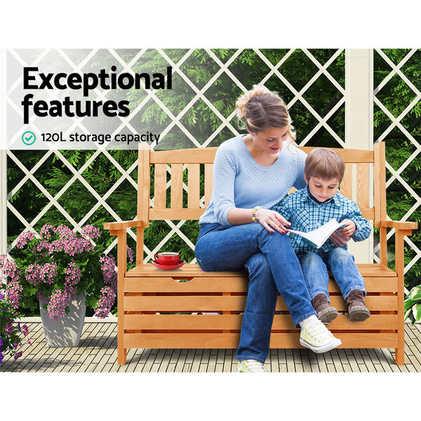 Wooden outdoor storage bench afterpay zippay zipmoney for Bedroom furniture afterpay