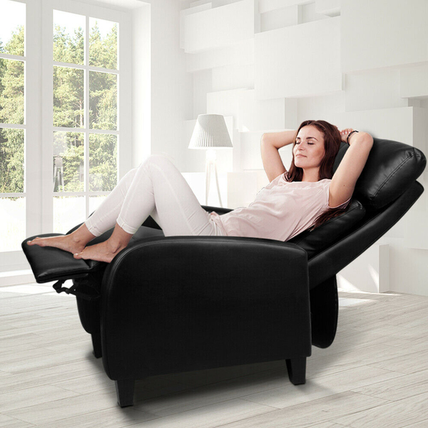 Faux leather armchair recliner black afterpay zippay for Furniture afterpay