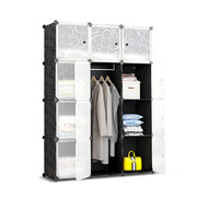 12 Cube Storage Cabinet with Hanging Bar - Black