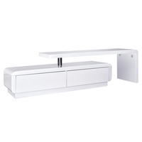 High Gloss Adjustable TV Stand Entertainment Unit Drawers White
