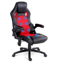 8 Point Massage Racer PU Leather Office Chair Black Red