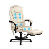 8-Point Massage Office Chair with Footrest Beige