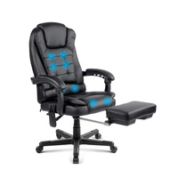 8-Point Massage Office Chair with Footrest Black