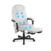 8-Point Massage Office Chair with Footrest White