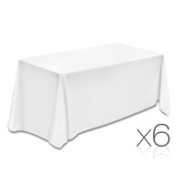 Set of 6 Table Cloths - White 137 x 244