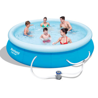 Bestway above ground fast set swimming pool blue for Fast set gartenpool