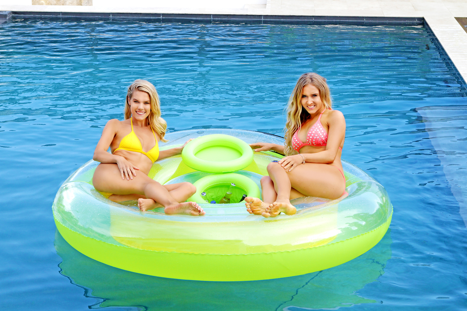 Green Inflatable Pool Float Tropical Floating Island With