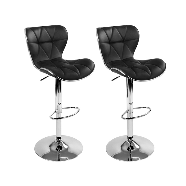 2 X Pu Leather Bar Stool Black Afterpay Furniture