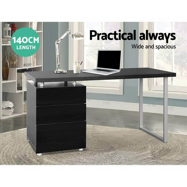 Office study computer desk w 3 drawer cabinet black for Furniture zippay