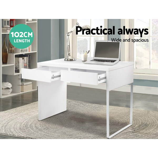 Office computer desk table w drawers white afterpay for Furniture zippay