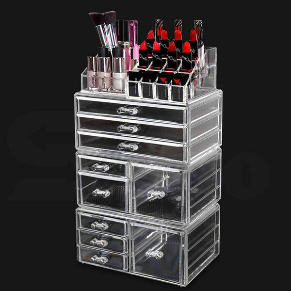 10 Drawers Clear Acrylic Cosmetic Makeup Organizer Jewellery Box