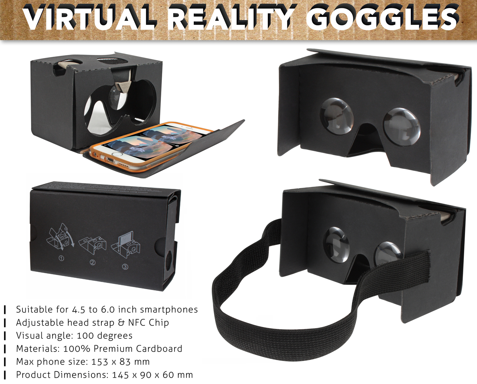 Google Cardboard V2 Headset Kit Virtual Reality Black Afterpay Stores