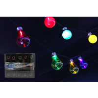 10 Multi Coloured LED Globe Party Lights 2.75m