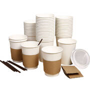 440 Pcs 12oz Disposable Takeaway Coffee Paper Cups Triple Wall Take Away w Lids