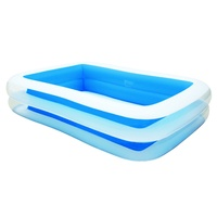 Large Blue Rectangular Inflatable Family Pool 262 x 175 x 51cm