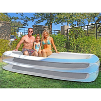 Giant Grey Rectangular Inflatable Family Pool 305 x 183 x 56cm