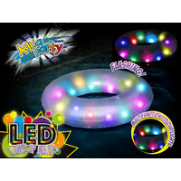 Inflatable Pool Float Swim Ring with LED Lights 91cm