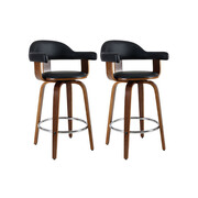 2x Bar Stools Wooden Dining Chair Black