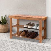 Bamboo Shoe Rack Wooden Seat Bench Organiser Shelf Stool