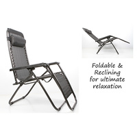 2 Sets of Zero Gravity Outdoor Foldable Reclining Chair Black