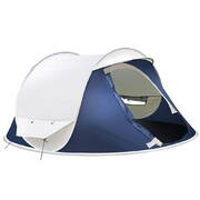4 Person Pop Up Canvas Camping Tent - Navy & Grey