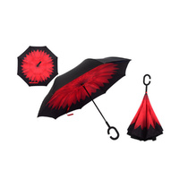 Windproof Double-Layered Hands Free Folding Upside-Down Umbrella Red