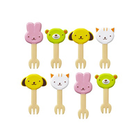 10-pieces Animals Food Picks and Forks Mixed Colours