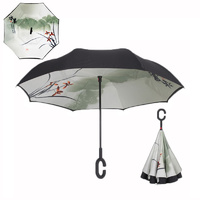 Double Layer Windproof UV Protection Reverse folding Umbrellas Asia