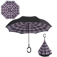 Double Layer Windproof UV Protection Reverse folding Umbrella Blue/Red Grid