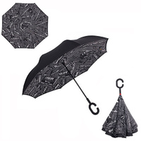 Double Layer Windproof UV Protection Reverse folding Umbrella News Print Dark