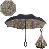 Double Layer Windproof UV Protection Reverse folding Umbrella Peacock