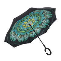 Double Layer Windproof UV Protection Reverse folding Umbrella Peacock Green