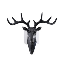 Retro Antler Home Decor Vintage Deer Head Wall Hook Clothes Hanger Rack - Black