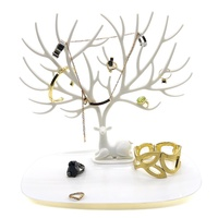 Bracelet Necklace Holder Deer Antler Tree Design WHITE