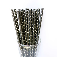 25 x Paper Straws - Black with White Polka Dots