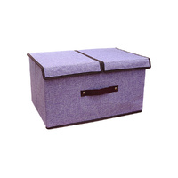 Set of 2 Foldable Fabric Collapsible Storage Cube Organziers with Lids Purple