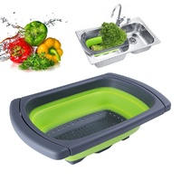 Collapsible Folding Silicone Kitchen Sink Food Strainer Green
