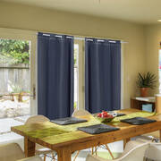 2x Blockout Curtains Panels 3 Layers with Gauze Room Darkening 180x230cm Black