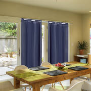 2x Blockout Curtains Panels 3 Layers with Gauze Room Darkening 240x213cm Navy