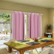 2x Blockout Curtains Panels 3 Layers with Gauze Room Darkening 240x230cm Rose