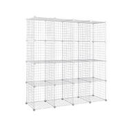 16 Cube Metal Wire Storage Cabinet - White