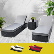 3 pcs Black Wicker Rattan 2 Seater Outdoor Lounge Set Grey