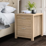 Bedside Table Lamp Side Tables Drawers Nightstand Unit Beige Wood