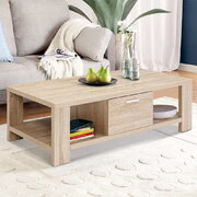 Coffee Table Wooden Shelf Storage Drawer Living Furniture Thick Tabletop