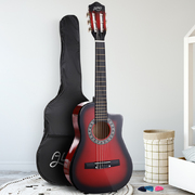 "Alpha 34"" Inch Guitar Classical Acoustic Cutaway Wooden Ideal Kids Gift Children 1/2 Size Red"