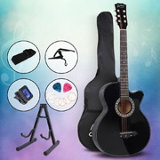 ALPHA 38 Inch Wooden Acoustic Guitar with Accessories set Black