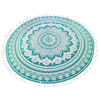 Mandala Towel with Terry Backing Leaf 180cm