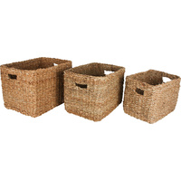 Set of 3 Seagrass Rectangle Basket With Handle 42 x 32cm x 30cm