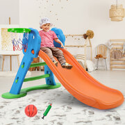 Kids Slide with Basketball Hoop with Ladder Base Outdoor Indoor Playground Toddler Play