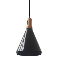 Aluminium Wood Pendant Lamp Conical 27 x 40cm Black